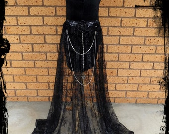 Black Velvet Mini Dress with Long Lace Train Size Small - Ready to Ship - Gothic Fantasy Swarovski crystals