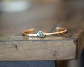 Raw Diamond Bracelet , Stacking Cuff in Gold Fill or Sterling Silver , Teal April Birthstone Hammered Bracelet - Harbor