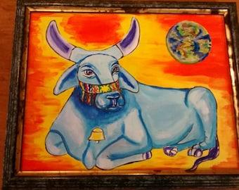 Taurus Astrology Art painting Peaceful Blue Brahm Bull Peace on Earth .