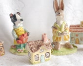 Miniature Ceramic House, English Thatched Roof Cottage, Spring Pastels, Yellow Blue and Brown