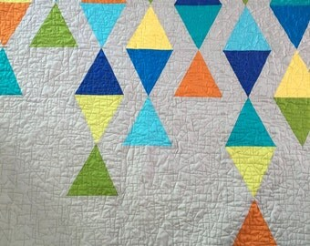 Mid-Century Modern Style Lap/Throw Colorful Quilt
