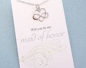 Maid of Honor Gift | Will You be my Maid of Honor | Infinity Heart Necklace | Infinity Charm Pendant | Sterling Silver | B05