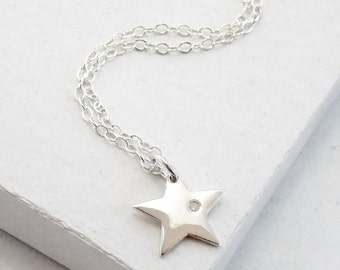 Diamond Star Necklace | Delicate Everyday Jewelry | Charm Pendant Necklace | Celestial Jewelry | Sterling Silver