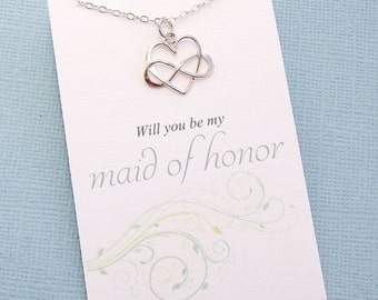 Bridesmaids Gifts | Maid of Honor Gift, Infinity Heart Necklace, Matron of Honor Gift, Maid of Honour, Matron of Honour, Wedding | B05