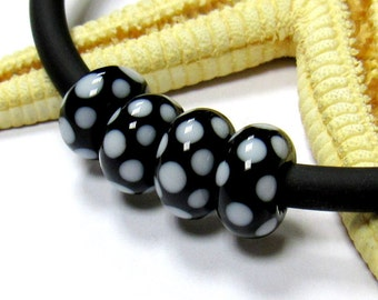SMAUGGS handmade lampwork bead  (1pc, 10mmx5mm), glass, black, white, hole 4 or 5mm