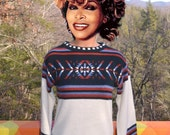 70s vintage women's sweater boatneck native southwest bell sleeve Small boho