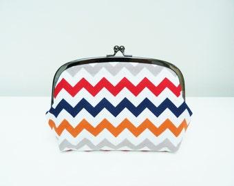 Cosmetic bag, multi colour chevron stripe fabric, cotton pouch