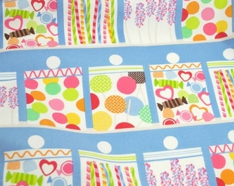 Confectionery Blue - from Lolly by Maude Asbury for Blend Fabrics - fabric by the quarter yard
