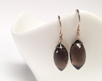 Smoky Quartz Puffed Marquis on Silver or Blackened Earwire