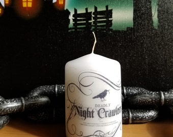 Night Crawlers Apothecary Bottle Label 2x3 Pillar Candle