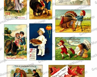 Thanksgiving clip art Digital Collage Sheet Download Vintage turkey pumpkin pie fall harvest graphics No.142
