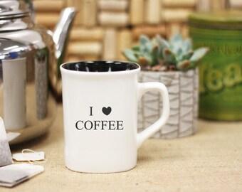 Personalized I love Coffee Mug, Custom Coffee Mug, Engraved Mug, Personal Engraved, Family Name Mug