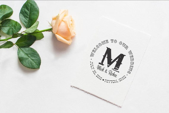 Clear Block Welcome to our wedding stamp with names and date for Weddings --5591