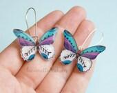 Butterfly dangle earrings, Butterfly jewelry, colorful butterflies