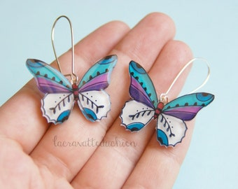 Butterfly dangle earrings, Butterfly jewelry, colorful butterflies