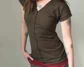 tunic dress/V-neck/short sleeved/Dark Olive with Burgundy, Cement grey, and Black