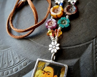 Frida Kahlo, Flowers, Glass, Picture Pendant, Leather, Rustic, Colorful Beaded Necklace