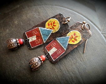 Copper Earrings, Home, House, Crackle Art, Retro, Folk Art, Earthy, Rustic, Beaded Earrings