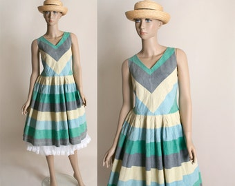 Vintage 1970s does 1950s Summer Dress - Striped Chevron Cotton Dress in Heather Pastels - Large