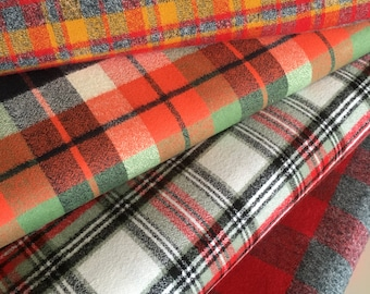 Mammoth Flannel Fabric Bundle, Red Plaid, Red Plaid Fabric, Gray Plaid Fabric, Lumberjack, by Robert Kaufman, Bundle of 4, Choose the cut