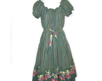 Unusual Vintage 1940's Cotton Marionette Print Peasant Dress