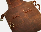 Leather Work Apron with Brass Bull Ring for Bike Mechanic or General Tinkerer