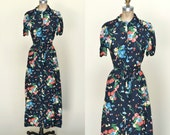 1940s Day Dress --- Vintage Navy Floral Dress