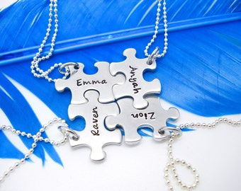 Personalized Necklace - 4 piece puzzle piece necklace set - Best Friend necklace set of 4 -  Bridesmaid jewelry set of 4 - Bridesmaid gifts