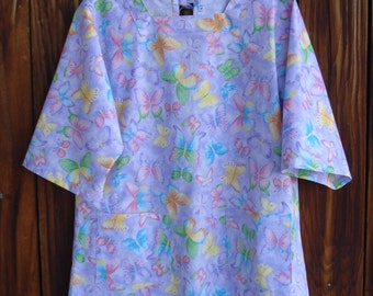SIZE 10-12 The Mama San Mamasan Kappogi Full Coverage Smock Apron - Butterflies on Lavender Print- Size Small (10-12)