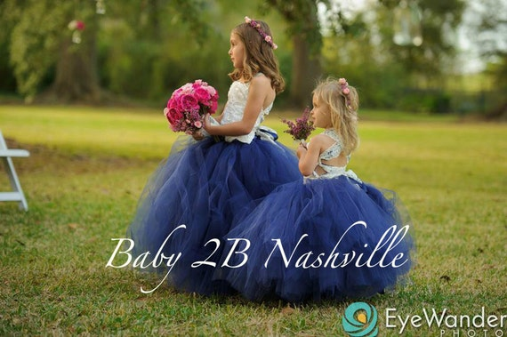 Navy Dress Flower Girl Dress Tulle Dress Wedding Dress Tutu Dress Party Dress Baby Dress Toddler Tutu Dress Girls Tulle Dress
