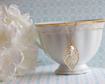 Gold Leaf Necklace Pearl Leaf Necklace Bridesmaids Jewelry