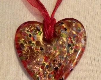 Vintage Venetian Murano Millefiori Red Gold Glass Heart Pendant Necklace