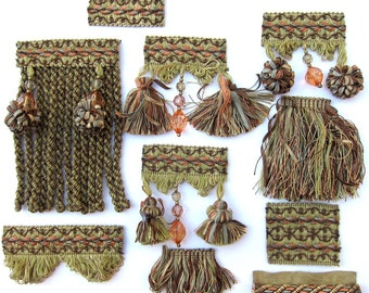 Fringe Trim Tassel Designer Pack for Fiber Artist and Wearable Art - Olive Green