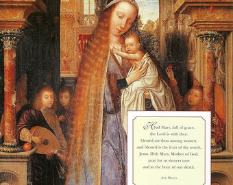 Ave Maria - Virgin Mary and Infant Jesus Madonna Print