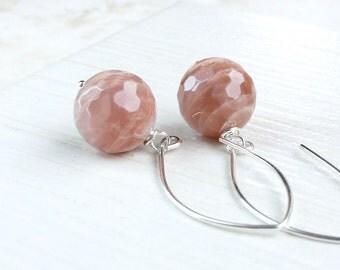 Peach Moonstone Earrings Sterling Silver Gemstone Jewelry  Moonstone Jewelry Natural Color June Birthstone Earrings Apricot Gem  Jewellery