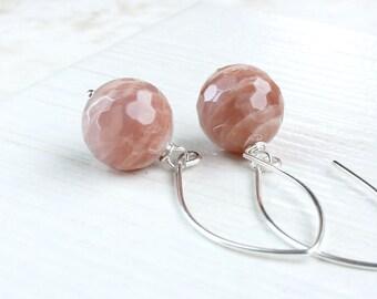 Peach Moonstone Earrings Sterling Silver Gemstone Jewelry   Natural Color June Birthstone Earrings  Gem  Jewellery Gift For Her