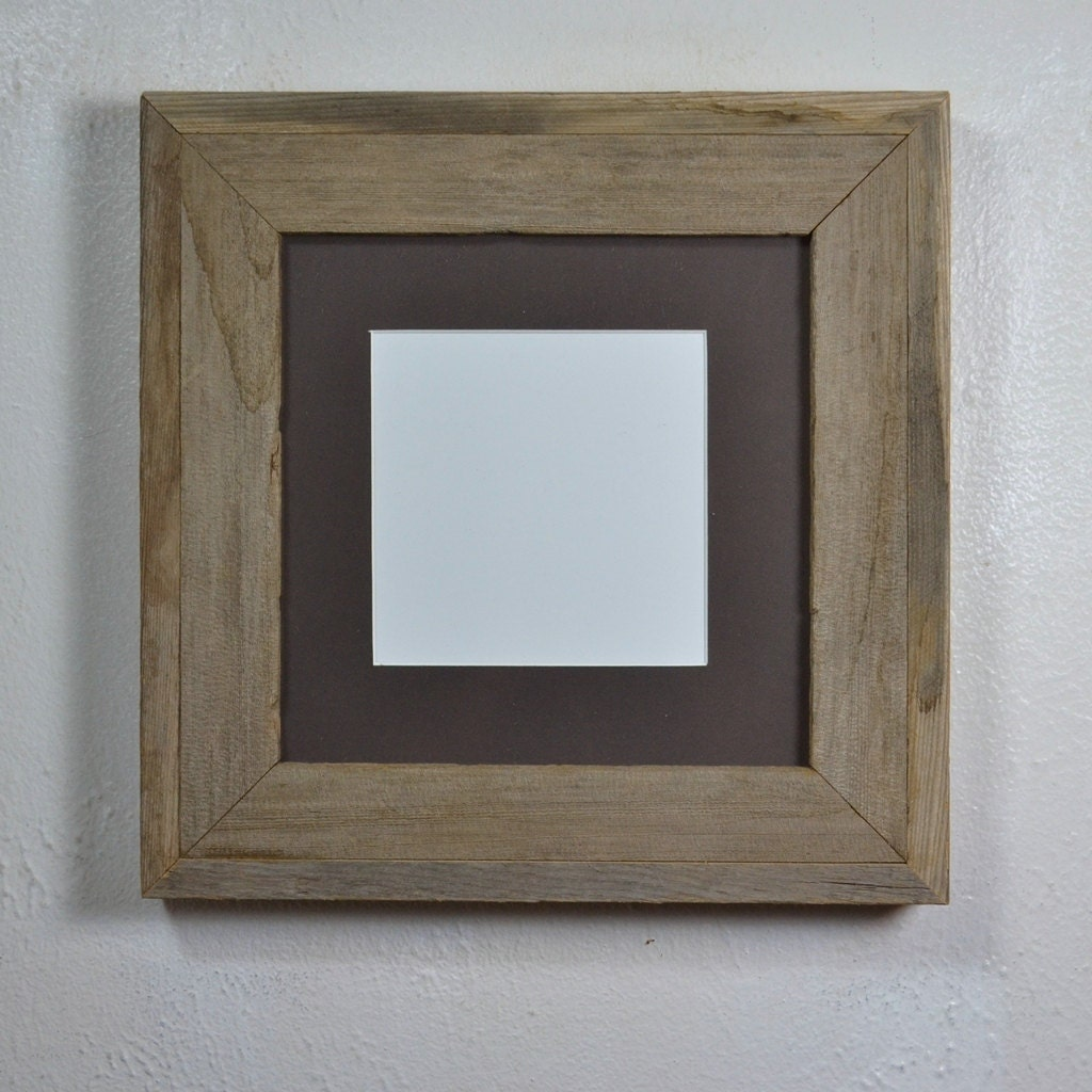 8x8 Gallery Style Wood Picture Frame With Dark Brown Mat For