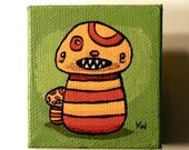 Mushroom Monsters Painting - Original Tiny Wall Art Acrylic on Canvas 2x2 Inches by Karen Watkins - Woodland Beast Creatures Art