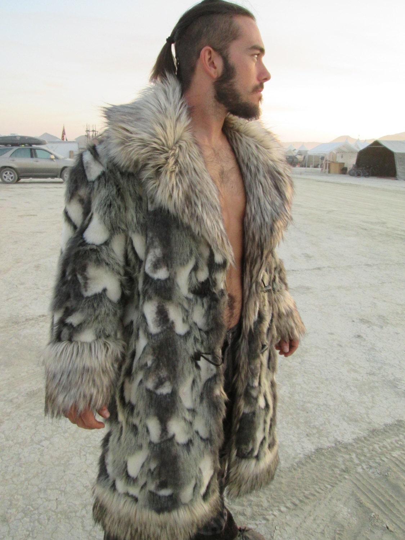 Long Crystal Fox Fur Coat for Men Full Length Genuine Fur