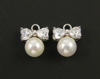 Bow Earring Findings Silver Clear Rhinestone Heart White Pearl Dainty Small Pendant Charm  WH3-11 2