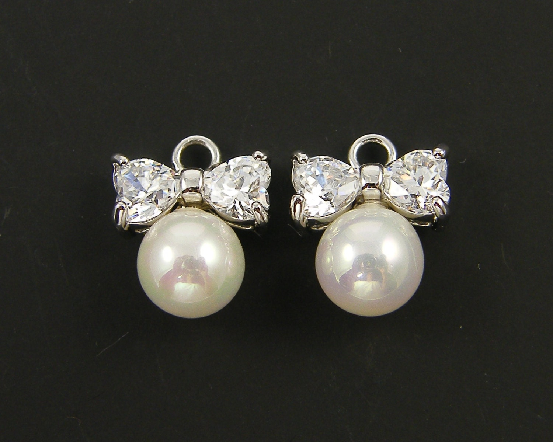 Bow Earring Findings Silver Clear Rhinestone Heart Earring