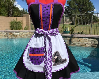 SALE - Ready to Ship - Witchy Witch on a Broom Handmade Sassy Apron, Retro Style with White Overlay, Womens Aprons,  Kitchen