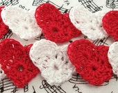 Crochet Red and White Heart Appliques