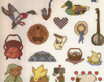 Mini Motif Designs. Twenty-One (21) Country Designs Volume 2. Vintage Cross Stitch Leaflet  by Graphworks. Embroidery Motifs.