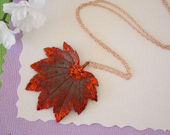 Copper Maple Leaf Necklace, Full Moon Maple, Real Copper Leaf, Real Full Moon Maple Leaf Necklace, Maple Leaf, Rose Gold Filled, LC113