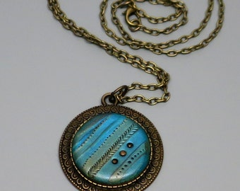 Turquoise Polymer Clay Pendant Necklace, Handmade