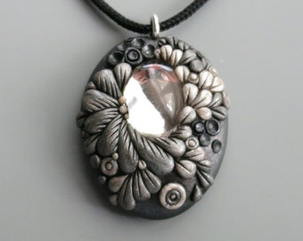 Pendant Necklace Polymer Clay, Pearl and Antique Silver with Vintage  Crystal Cabochon