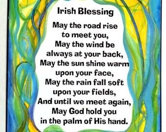 IRISH BLESSING Inspirational Quote Motivational Print Celtic Blessing Prayer Spiritual Meditataion Gift Heartful Art by Raphaella Vaisseau