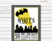 Batman Birthday Invitation, Batman Birthday Party, Batman Party, Superhero Birthday Invitation, Superhero Party, Printable Batman Invitation