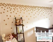 Polka Dots Gold Circle Shaped Wall Decals -  200 Vinyl Confetti Dots in 45 Color Options - Nursery Kid Room Decor - Gold Dot Wall Stickers